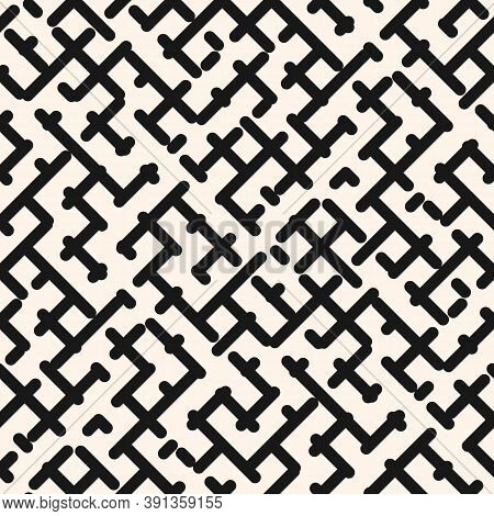 Vector Monochrome Geometric Seamless Pattern. Stylish Modern Black And White Texture With Diagonal C