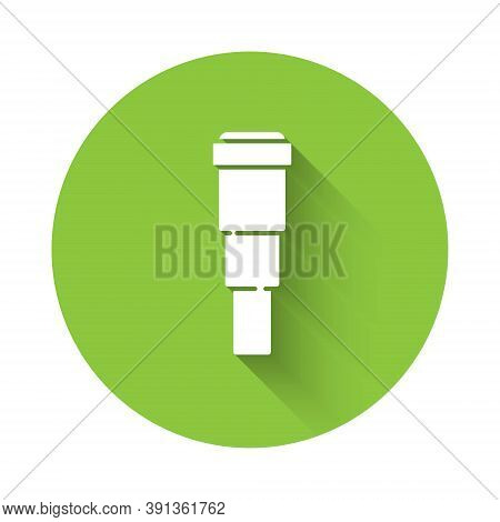 White Spyglass Telescope Lens Icon Isolated With Long Shadow. Sailor Spyglass. Green Circle Button.