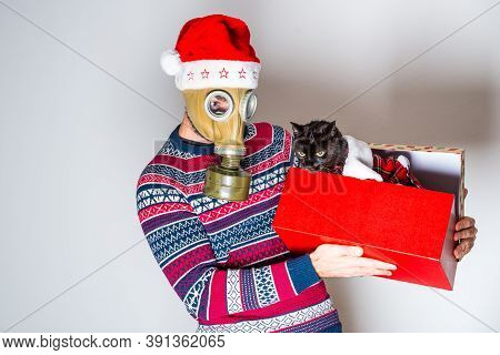Person In Face Protection Celebrating Christmas Eve And Opening Gift With Black Cat On Light Backgro