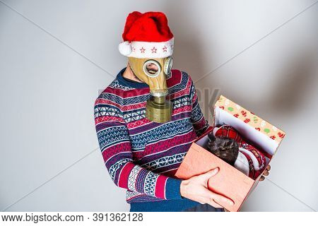 Person In Face Protection Celebrating Christmas Eve And Opening Gift With Black Cat