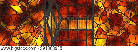 3D Illustration Stained- Glasses Background. Abstract Mosaic Architecture