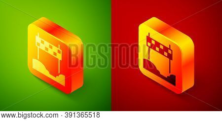Isometric Ribbon In Finishing Line Icon Isolated On Green And Red Background. Symbol Of Finish Line.