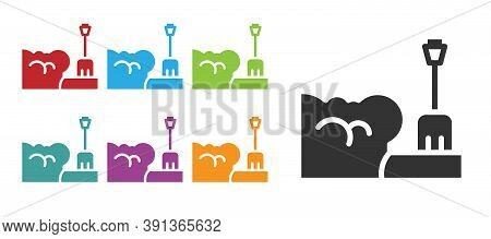 Black Shovel In Snowdrift Icon Isolated On White Background. Set Icons Colorful. Vector