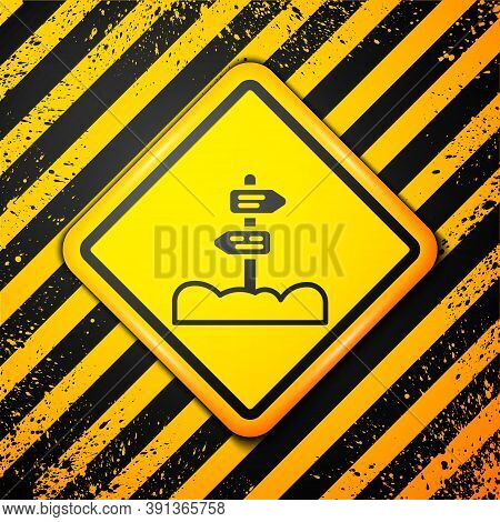 Black Road Traffic Sign. Signpost Icon Isolated On Yellow Background. Pointer Symbol. Street Informa