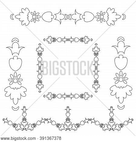Modern Frame Isolated. Vintage Vector Set. Vintage Vector Set. Decorative Design Lace Elements. Vect