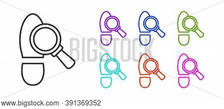 Black Line Magnifying Glass With Footsteps Icon Isolated On White Background. Detective Is Investiga