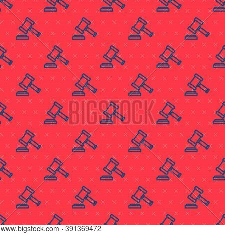 Blue Line Judge Gavel Icon Isolated Seamless Pattern On Red Background. Gavel For Adjudication Of Se