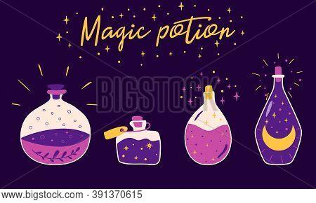 Magic Potion Bottles Violet Bottle Jar Set With Moon, Stars, Herb Inside. Cute Kids Witchcraft Eleme