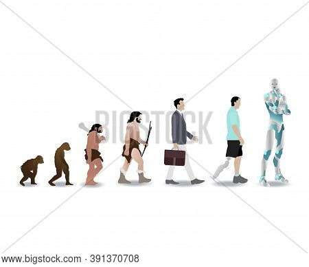 Evolution Human To Robot Cyborg, History Man Evolve. Vector Ancestor Development Mankind, Illustrati