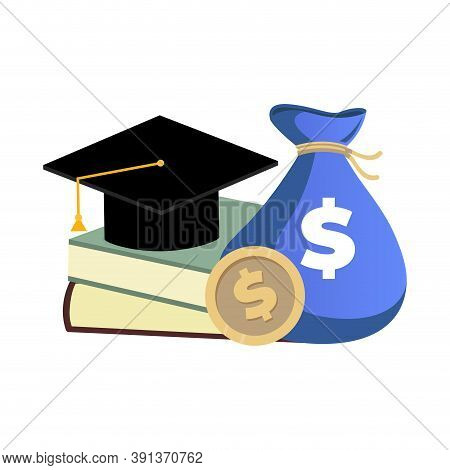 Scholarship Concept, Money And Books For College Education. Scholarship Investment In College Or Sch