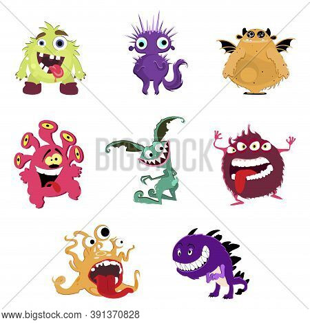 Cute Cartoon Monsters. Vector Goblin Or Troll, Cyclops And Ghost. Illustration Funny Monsters Set Wi