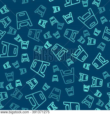 Green Line Baby Potty Icon Isolated Seamless Pattern On Blue Background. Chamber Pot. Vector