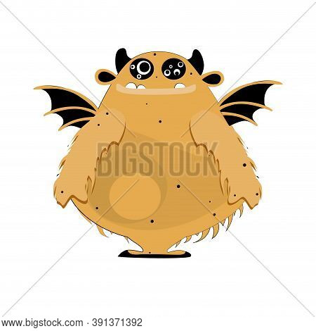 Fur Confident Monster With Wings Isolated On White. Vector Mascot Halloween, Goofy Confident And Ang