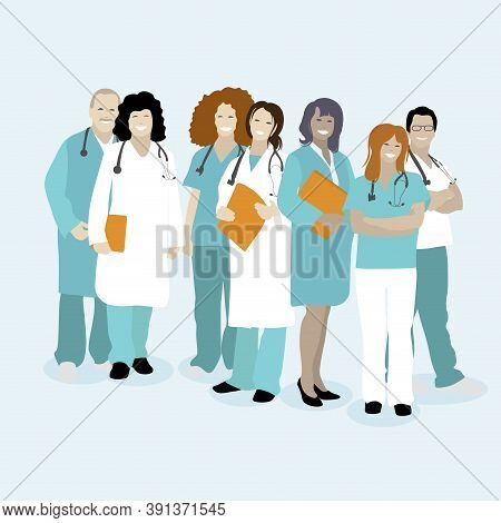 Medical Staff Team, Doctors Physician And Nurse. Vector Doctor Line Front Team, Nurse And Medical Wo
