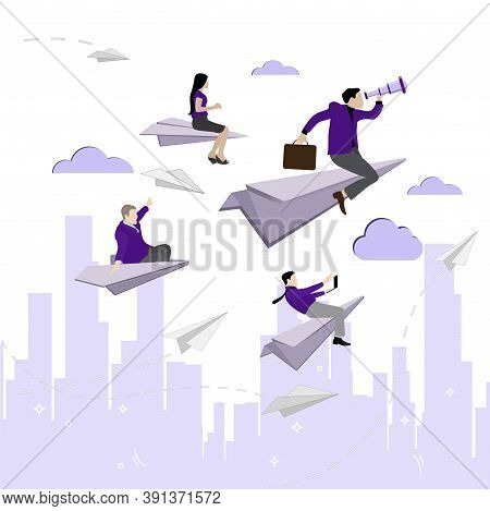 Leader With Team Fly To Goal. Vector Innovation And Opportunity, Rise Challenge Concept, Woman And M