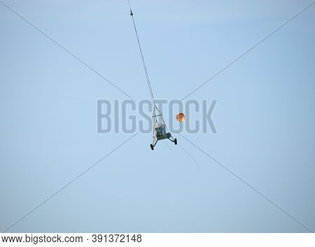 Junkers Ju-52 Airplane Fuselage Is Transported With A Helicopter On A Rope To The Airport Altenrhein