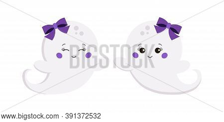 Halloween Ghost Baby Girl Isolated On White Background. Cute Smiling Flying White Ghost Funny Charac
