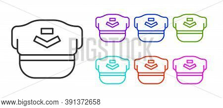Black Line Pilot Hat Icon Isolated On White Background. Set Icons Colorful. Vector