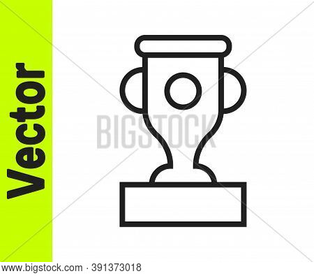Black Line Award Cup Icon Isolated On White Background. Winner Trophy Symbol. Championship Or Compet