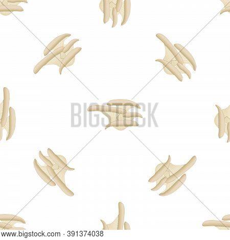 Illustration On Theme Of Bright Pattern Mushroom, Vegetable Brown Oyster For Seal. Vegetable Pattern