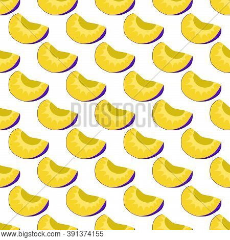 Illustration On Theme Big Colored Seamless Purple Plum, Bright Fruit Pattern For Seal. Fruit Pattern