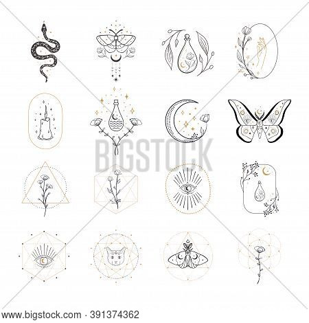 Collection Of Vector Abstract Spiritual Line Drawing Logo Design Templates And Elements, Frames, Det