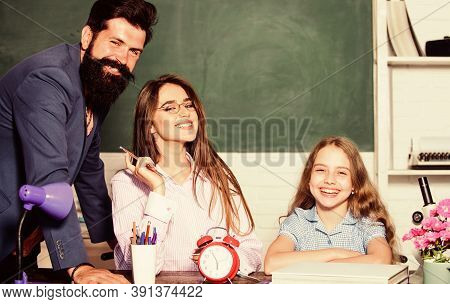 Learning Fun For Everyone. Happy Family Enjoy Learning Together. Learning Activity For Little Child