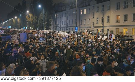 Warsaw, Poland 23.10.2020 - Protest Against Polands Abortion Laws. Crowd Of People Fighting For Wome