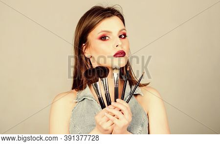 Sensual Woman With Long Hair, Style. Beauty Hairdresser Salon. Lipstick And Eyeshadow. Fashion Makeu