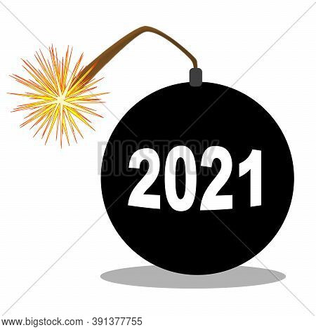 A Traditional Cartoon Style Bomb With Lit Fuse With The Date Of 2021 Isolaterd Over White