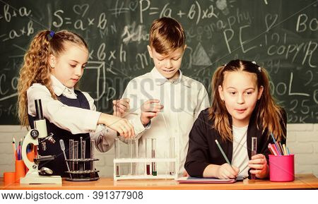 School Chemistry Lesson. Test Tubes With Substances. Formal Education. Girls And Boy Student Conduct