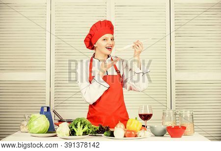 Try Delicious Meal. Healthy Ration. Woman Professional Chef Hold Spoon. Dieting Concept. Healthy Veg