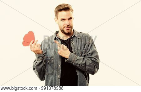 Love You. Love And Romance. Unshaved Man Isolated On White. Man With Decorative Heart. Date. Valenti