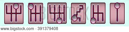 Set Of Gearbox Cartoon Icon Design Template With Various Models. Vector Illustration Isolated On Blu