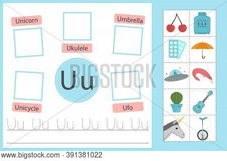 Alphabet Tracing Worksheet For Preschool And Kindergarten. Writing Practice Letter U. Exercises With