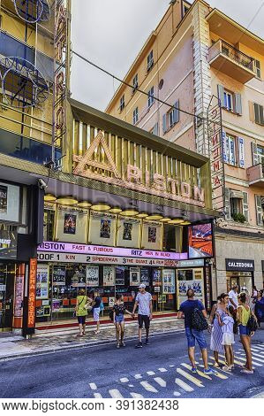 Sanremo, Italy - August 18: Facade Of The Iconic Ariston Theatre, Sanremo, Italy, On August 18, 2019