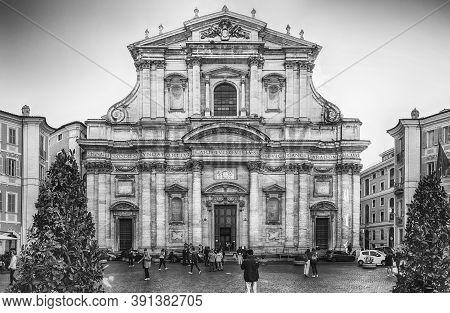 Rome - November 10: Facade Of The Church Of St. Ignatius Of Loyola At Campus Martius, Central Rome,