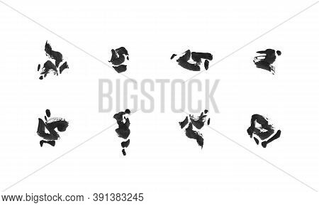 Set Of Watercolor Decorative Elements. Brush Strokes Illustration. Black Isolated Collection On Whit