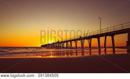 Port Noarlunga Beach With Jetty At Sunset, South Australia