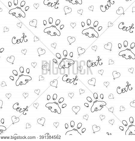 Seamless Pattern Of Cat Paw Track. Cat Love Pattern. Black Contours On A White Background. Cat Lette