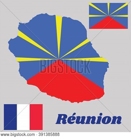 Map Outline And Flag Of Reunion, State Flag And National Flag. With Name Text Reunion.