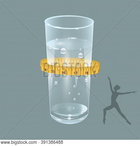 Water In A Transparent Glass - Natural, Clean, Carbonated - Measuring Tape - Vector. Healthy Food Co
