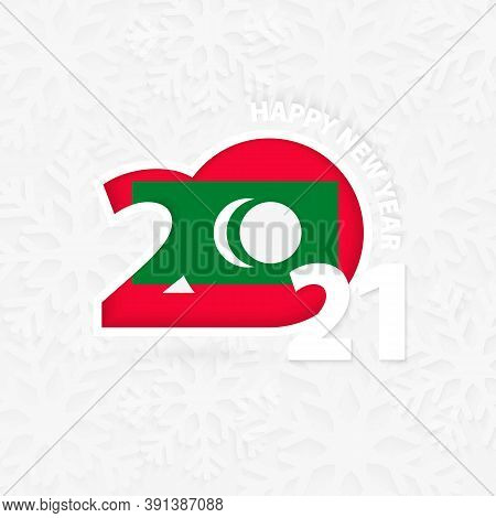 Happy New Year 2021 For Maldives On Snowflake Background. Greeting Maldives With New 2021 Year.