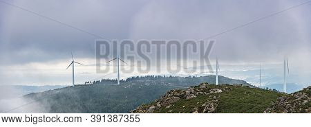 Aerial View Of The Ria De Arousa Estuary From The Muralla Mountain On A Foggy Summer Afternoon, With