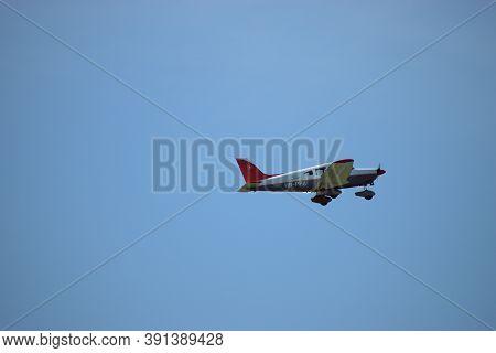 Piper Archer Is Departing From The Airport Altenrhein Near Saint Gallen In Switzerland 10.7.2020