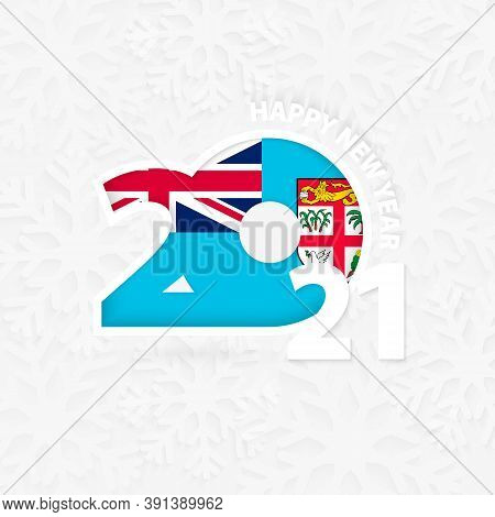 Happy New Year 2021 For Fiji On Snowflake Background. Greeting Fiji With New 2021 Year.