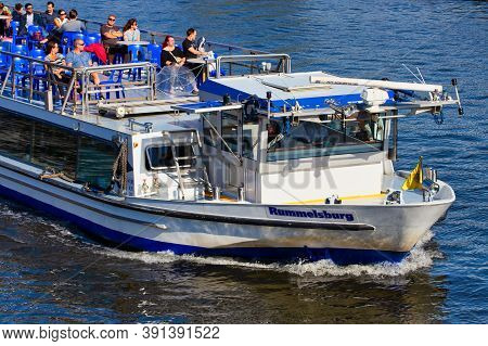 Berlin, Germany - July 26, 2020 - Excursion Boat With Tourists On The River Spree In Berlin