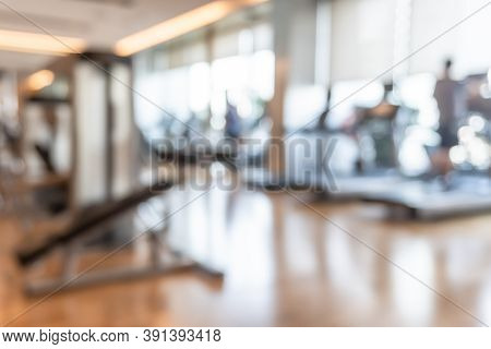 Gym Blur Background Fitness Center, Workout Personal Training Studio, Health Club With Blurry Sports