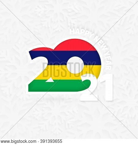 Happy New Year 2021 For Mauritius On Snowflake Background. Greeting Mauritius With New 2021 Year.