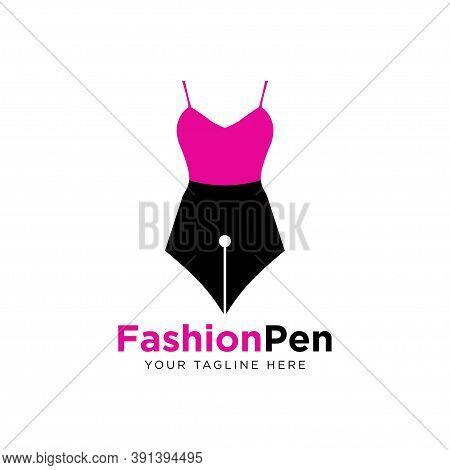 Fashion Pen Logo Design Template Vector Illustration